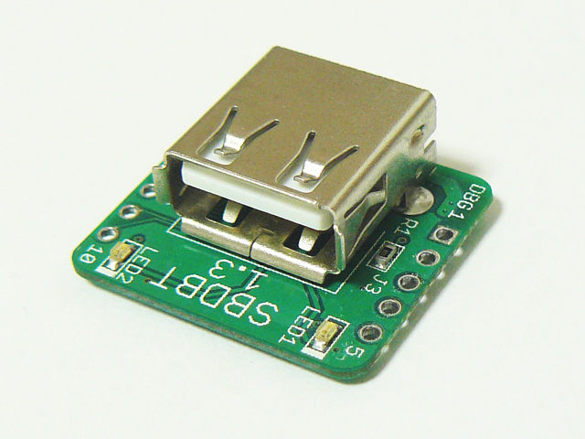 Small PIC board with USB Host SBDBT (not implemented pin header )